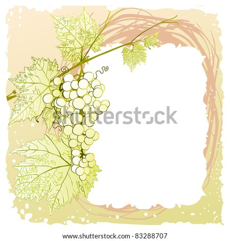 pretty vintage frame with leafy branch and grape cluster