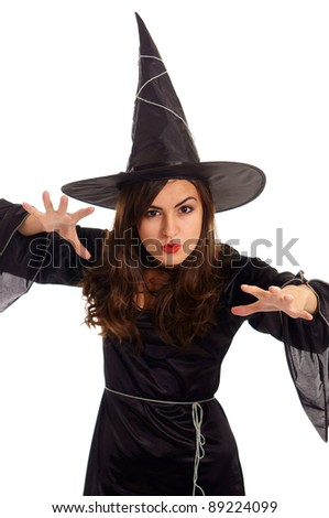 pretty wizard posing on a white background