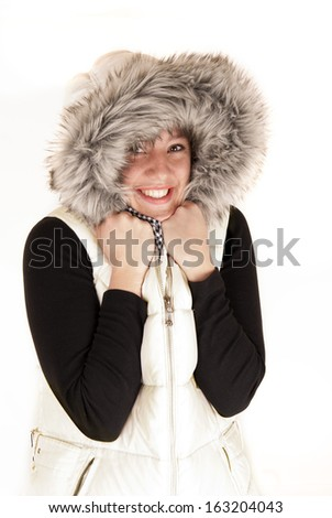 Pretty woman in winter coat fur hood