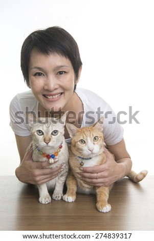 pretty woman with 2 cats