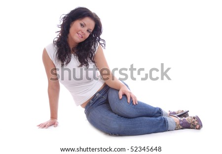 Pretty young casual women sitting