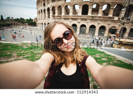 Pretty young girl tourist in Rome, Italy