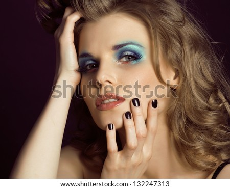 pretty young woman with beauty make up close up