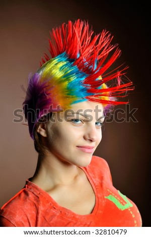 beauty fashion model girl colorful dyed stock photo