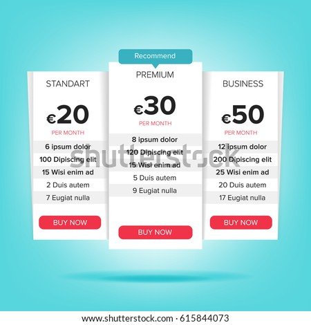 Pricing Table Template Vector Stock Vector 295947908 - Shutterstock