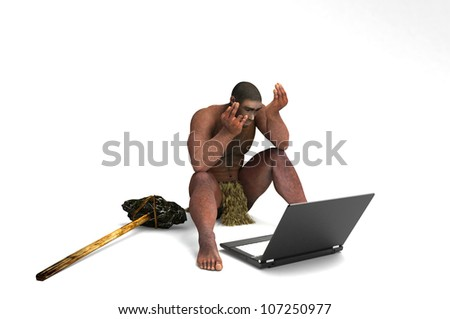 Primitive man with a laptop on a white background.