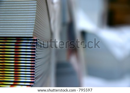 Printed and bound magazines in closeup