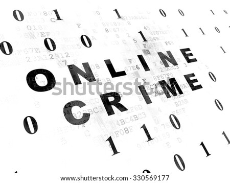 Privacy concept: Pixelated black text Online Crime on Digital wall background with Binary Code