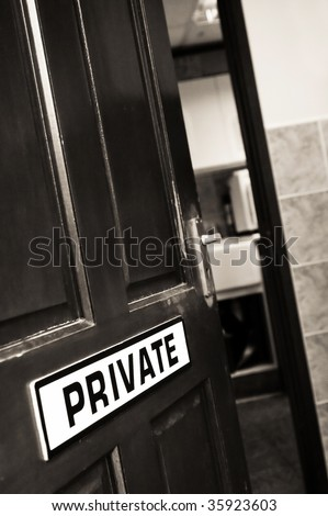 private sign on an open doorway