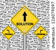 Problem, Trouble or Solution Road Sign for Business Solution Concept in Solution Label Background - stock photo