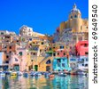 Procida, beautiful island in the mediterranean sea, naples. hdr - stock photo