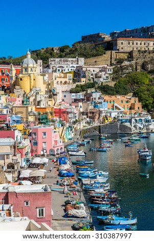 Procida island in a beautiful summer day in Italy