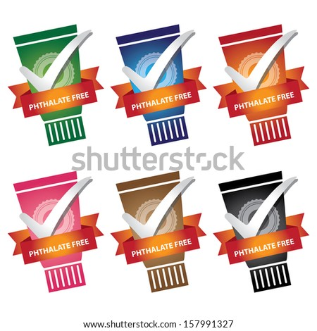 Product Information or Ingredient Concept Present By Colorful Lotion or Shampoo Bottle With Phthalate Free Ribbon Isolated on White Background