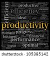 Productivity concept in word tag cloud on black background - stock photo