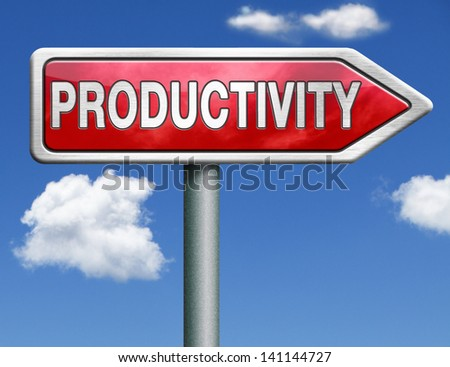 productivity industrial or business productive red road sign arrow with text and word