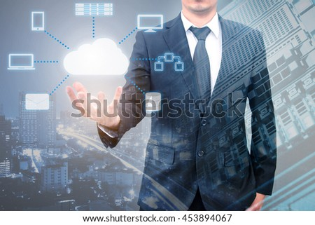 Professional businessman connecting cloud technology on hand in Technology, Communication and business concept
