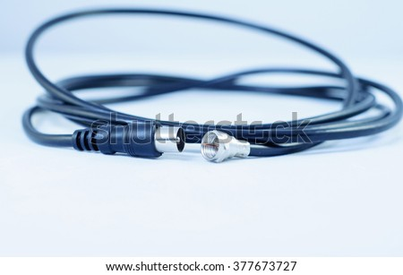 Professional coaxial cable RG6 and TV type in blue technology tone