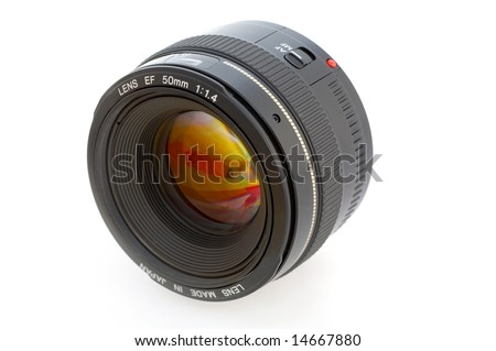 professional photo lens against white background