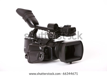 Professional video camcorder on white background.