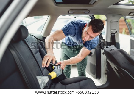 Car Care Concept Detailing Cleaning Interior Stock Photo 650651461