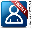 Profile (Member icon) glassy red ribbon on glossy blue square button - stock photo