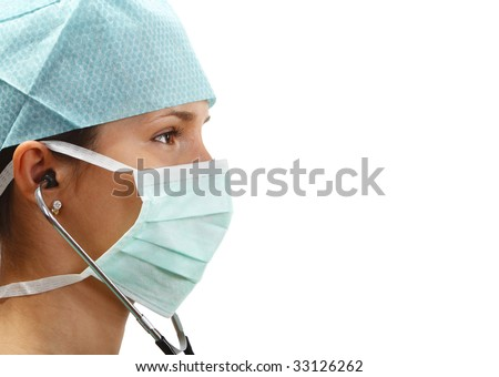 Profile of a female doctor with mask and stethoscope isolated against a white background.