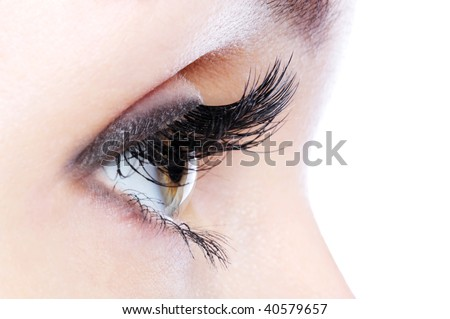 Profile view of a human eye with a long curl false eyelashes