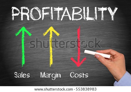 Profitability Business Concept Chalkboard - female hand with chalk and arrows with text