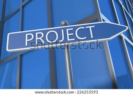 Project - illustration with street sign in front of office building.