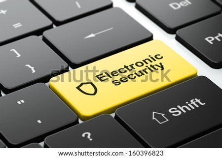 Protection concept: computer keyboard with Contoured Shield icon and word Electronic Security, selected focus on enter button, 3d render