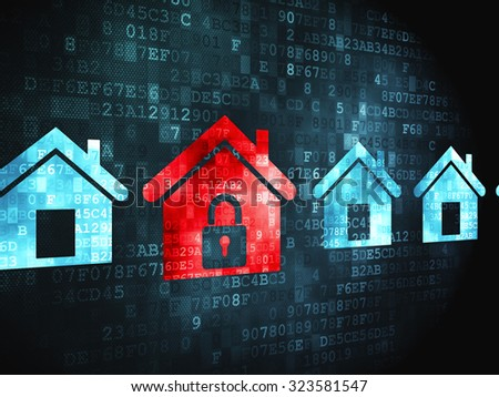 Protection concept: pixelated Home icon on digital background