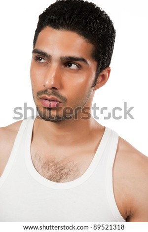 protrait of a handsome man wearing vest, Indian man with a muscular body