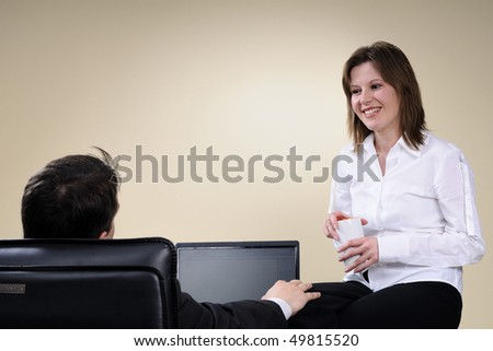 proud manager communicating with chairman