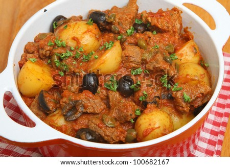 Provencal beef stew with new potatoes