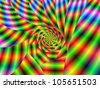 Psychedelic Spiral/Digital abstract fractal image with a psychedelic spiral design in green, red, blue and yellow. - stock photo