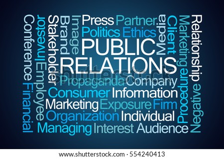 Public Relations Word Cloud on Blue Background