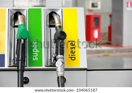 Pump nozzles in gas station