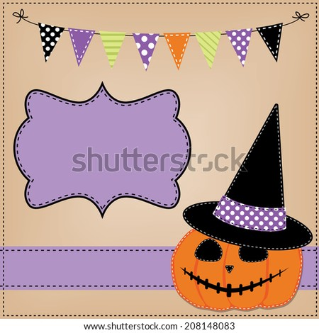 Pumpkin or jack o lantern and witches hat template or layout with bunting flags or banner