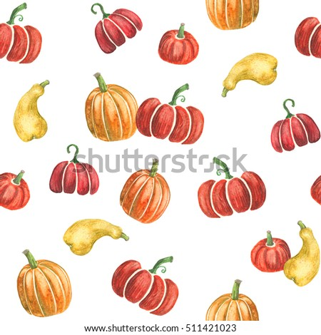 Pumpkin seamless pattern - nice colorful seamless print, combined of hand-drawn watercolor pumpkins