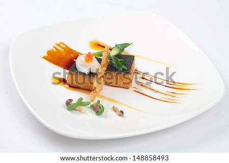 Pumpkin tofu with seaweed top