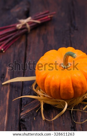 pumpkins on a wooden table, on an old wooden table