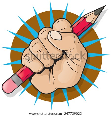 Punching Fist and Pencil Sign. Great illustration of Pop Art style punching up in the air whilst holding a pencil.