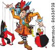 Puppeteer and marionettes: Pierrot, Columbine, Harlequin, Gipsy, Japanese (Fairy tale illustration). Raster version - stock photo
