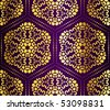 Purple and gold seamless arabesque (jpg); vector version also available - stock vector