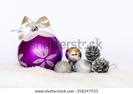Purple and silver Christmas tree decoration
