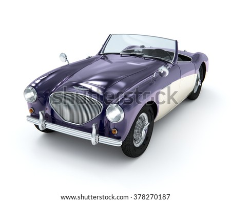 Purple antique car model on a white background