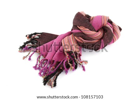 Purple cotton scarf on white background