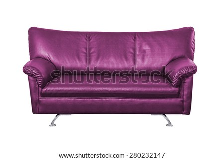 purple leather sofa isolated on white background work with path