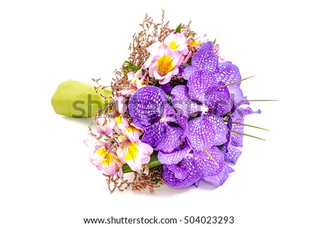 Purple orchid bouquet isolated on a white background