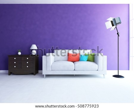 purple room with sofa. Living room interior. Scandinavian interior. 3d illustration